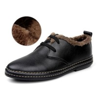 New arrival Men's fashion winter and wool keep warm Loafer Lace- Up Cow Leather Casual Shoes Flats driving leisure shoes WS016