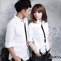 British Style 2013 Lovers Design Shirt Black And White Color Block Slim 100% Cotton Long-sleeve Shirts