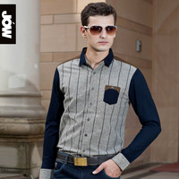 Jow men's clothing male long-sleeve shirt patchwork sheep wool knitted casual shirt