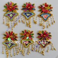 Sequin patches sequin hair accessory paillette flower patches multicolor beads flower applique Costume accessories 8.5*16CM