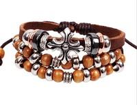 2014 New Arrival High Quality Bohemia Vintage cross Bracelet,Genuine Leather Beads Handmade bracelets & bangles shamballa W2036