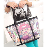 4 pattern print fashion doodle handbag large bag brief vintage one shoulder women's handbag