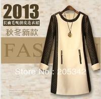 Женское платье NEW 2013 Women Winter Korean Long Sleeve Soild Color V-Neck Flouncing Tight Corset Russles Sexy Mini Dress.JCK755