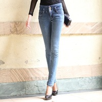 Free shipping. 2013 autumn buttons elastic tight skinny pants high waist jeans female trousers