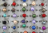 Fashion Jewelry Wholesale mixed lots 50pcs beautiful colorful Imitation pearl rhinestone women's rings w4320