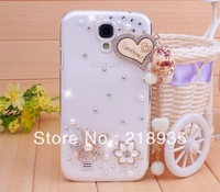 I love you rhinestone WOOD diamond pc hard cases for samsung s4 i9500 i9508 wholesale