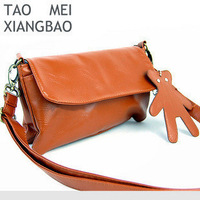 2011 autumn fashion female bags cowhide color bear pocket messenger bag