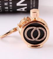 Metal Crystal Perfume Bottle Keychain Double C Key Chain Novelty Creative Car Key Chain Souvenir Women's Bag pendant trinket