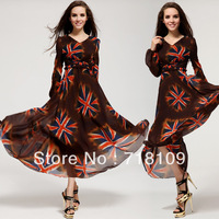 Hot Women Vogue Vintage Maxi Chic Chiffon Puff Sleeve Lace Long Slim Ball Gown Dress with Belt