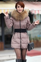Women's Thick Long Fur Collar Slim Collar Down Coat Outerwear Jacket YRF01 Color Gary