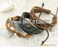leather bracelet factory in promotion stylish men handmade leather braid bracelet KL0003