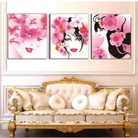 175#3 d diamond painting beautiful girl DIY kits triptych resin drill pattern time