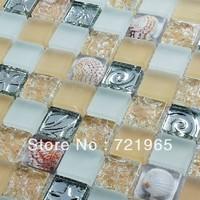 Yellow glass mosaic wall tile kitchen backsplash resin shell mosaics RNMT056 stainless steel glass mosaic bathroom floor tiles