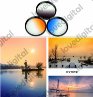 3in1 Graduated Neutral Density ND Blue Orange  67 mm Grey  Filter set  for Canon EOS 7D 50D 5D 60D T3i 18-200 15-85mm
