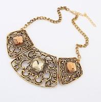 Retro Cutout Ethnic Rhinestone Short Necklace  New Fashion Jewelry cxt900453