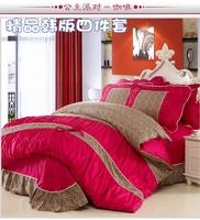 Heng YUAN XIANG piece set wedding four piece set 100% bow cotton duvet cover bed sheets bed skirt leopard print