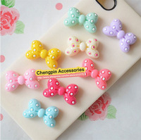 200Pcs/lot, Flat Back Resin Dot Bow For Cell Phone Deceration Crafts Making Embellishments DIY