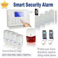 Touch keypad wireless home alarm gsm pstn system with LCD screen, flash siren, internal antenna PIR, door sensor  SG-314