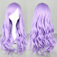 Christmas Cosplayer Lolita Wig Purple Color Long Curly Hair Anime Wigs Cosplay Wig Solid Color Wavy Oblique Bangs Synthetic Hair
