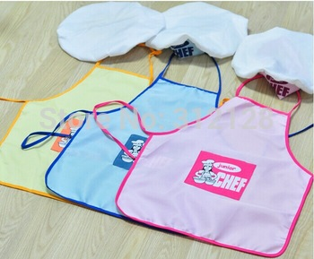 cell apron + hat set children cooking apron cooker hat chef cap dirty kid dance and sing cloth apron kid show time apron