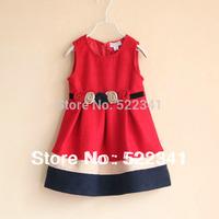 Fashion baby girls woolen dress flowers in autumn and winter new style children's striped vest  dress children's  dresses