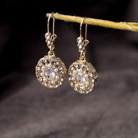 Fashion accessories simulated-pearl and rhinestone inlaying round drop earrings