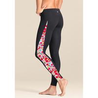 Long design sunscreen thermal split high waist liner female yoga fitness snorkeling swimming pants black flower