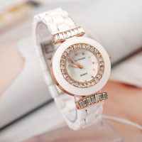 Free Shipping Luxurious Ceramic brand quartz watch women rose gold fashion rhinestone dress wrist watch