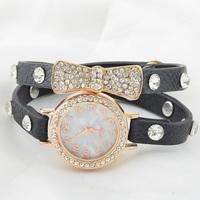 Hot! New Promotional Korean Woman Fashion Delicate Bow Sparkling Rhinestone Inlaid Leather Quartz Watch