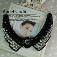 False collar high quality crystal rhinestone collar short necklace peaked collar drop big gem black and white