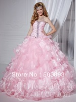 Free shipping masquerade ball gowns ruffles crystal light pink quinceanera dresses 2014 sweet 16 gowns quinceanera gowns