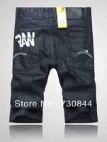 Wholesale Men's denim jean shorts.Brand name short jeans.RAW jean shorts.black color denim shorts.Top quality 100% cotton jeans