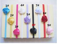 Baby Rose Flowers Headbands Rosette Baby Hair Accessories Satin Ribbon Hair Band Soft Stretchy Satin Headwear Hair Bows 50pcs