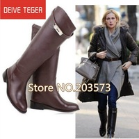 Freeshipping EURO Fashion Genuine Leather Buckle Strap Women Knee High Flat motorcycle Knight Boots DT009