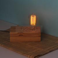 Solid wood table lamp brief vintage table lamp log dimmable double slider bulb