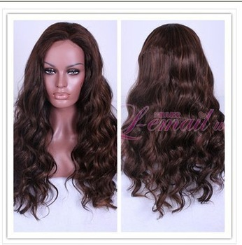 Imitation human made Wig realistic wavy hair American wave brown Curls Wigs Brazilia FREE SHIPPING