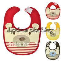 12 PCS/LOT Free shipping New Baby Toddler lunch bibs Stripe Bear Pattern soft Saliva towel waterproof 11224