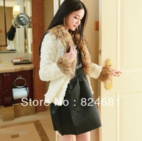 Women's Artificial Faux Fox Collar Rabbit Fur Coat Jackets PC44 White