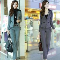 Women's classic plaid skirt twinset 2013 pants casual set blazer work wear