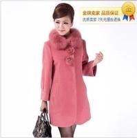 Women's fox fur woolen overcoat plus size cashmere trench outerwear