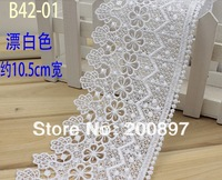 Super white water soluble lace trim 10.5cm DIY lace accessories for clothes or bags 5 meters lot
