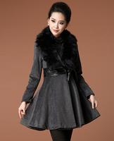 Quality fashion fox fur overcoat autumn and winter slim waist women's woolen big round swing trench outerwear
