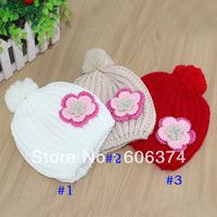 Retail Children Knitted Hat Flower Winter Baby Girls Beanies Kids Linecaps Baby Hat Headwear BH0917