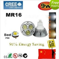 Wholesale~300pcs CREE LED 9W 3x3 MR16 GU5.3 High power Spot Light Bulb Spotlight spot lamp 220V DHL free