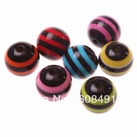 Fashion 20mm Resin Stripe Beads Assorted for Chunky Necklace 100pcs/lot free shipping