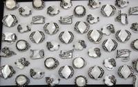 Free Shipping Wholesale Rhinestone white shell women's fashion ring fashion popular 50 pieces/set