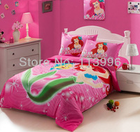 kids girls cartoon pink mermaid cotton bedding set single bed twin size children quilt cover sheet pillowcase set christmas gift