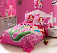 kids girls cartoon pink mermaid cotton bedding set single bed twin size children quilt cover sheet pillowcase set christmas gift
