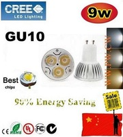 DHL FREE 500pcs GU10 9W CREE LED SpotLight Bulbs Lamp lamps 85-265V downlights 3X3W Low price