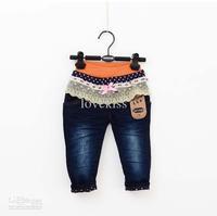 Jeans  Girl  Denim   Baby Pants Children Clothing Fashion Bowknot Lace Princess Jeans Denim Trouser Blue Jeans Kids Casual Pants